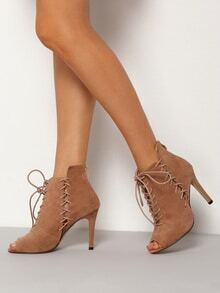 Apricot High Stiletto Heel Lace Up Pumps