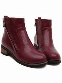 Red Round Toe Contrast Zipper Ankle Boots