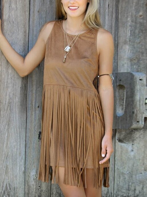 robe en daim sans manches avec franges marron french romwe With robe marron daim