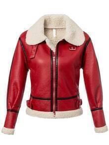 Lapel Plaid Belt Buckle Red Jacket With Zipper