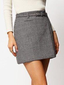 Houndstooth Belt Slim Skirt