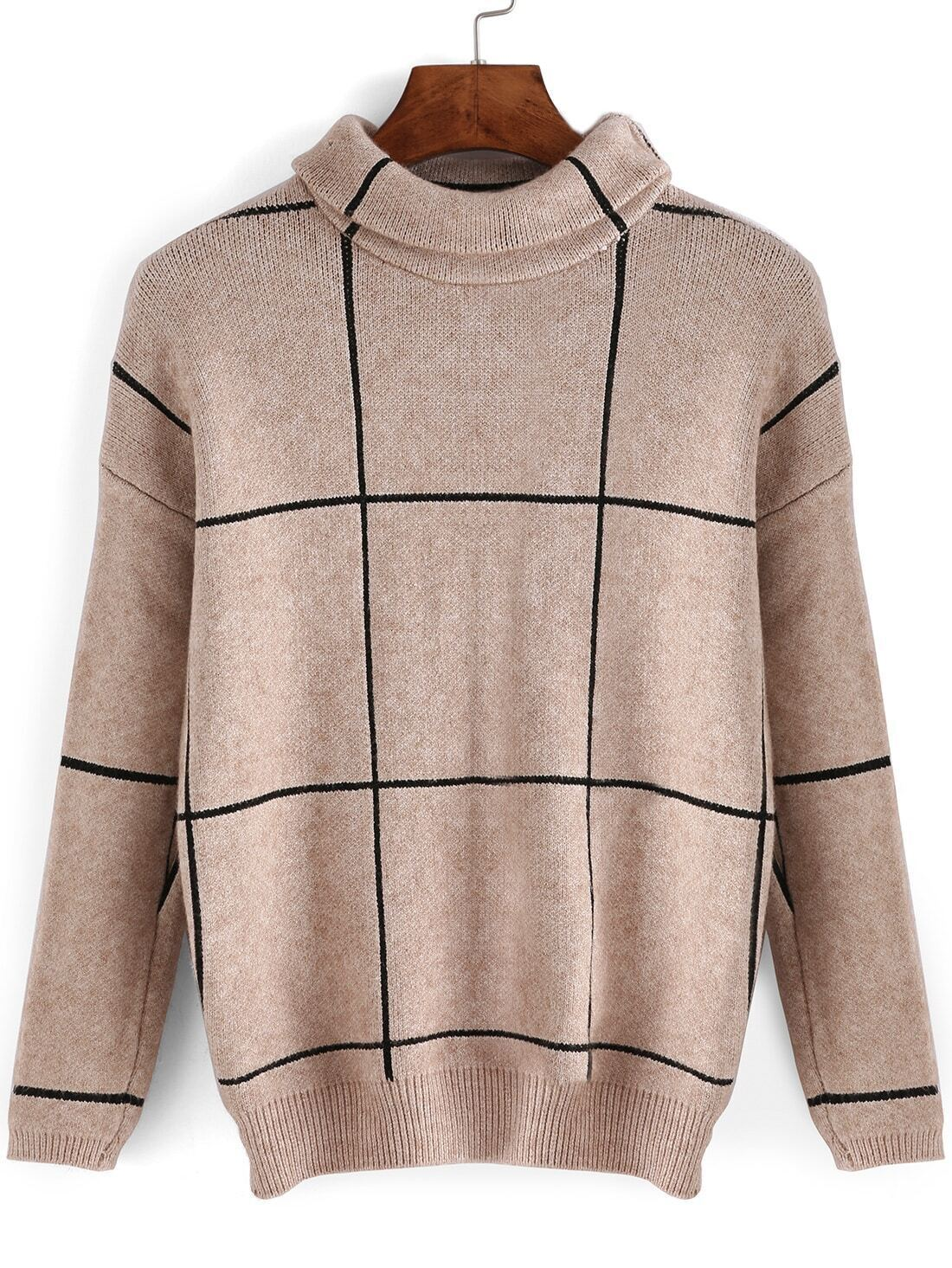 Turtleneck plaid loose sweaterfor women romwe for Plaid shirt under sweater