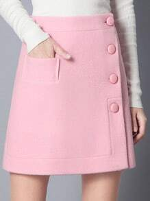 Single Breasted A-Line Pink Skirt With Pocket