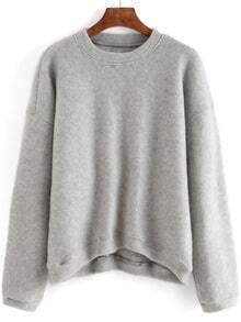 Women High Low Grey Sweatshirt
