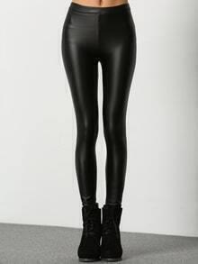 Elastic Waist Thicken PU Black Leggings