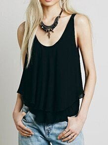 Scoop Neck Double Layers Chiffon Tank Top
