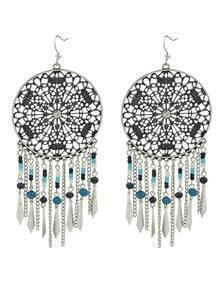 At-Silver Dream Catcher Design Beads Large Hanging Earrings Woman
