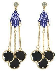 Black Enamel Flower Hanging Long Earrings Jewelry Fashion