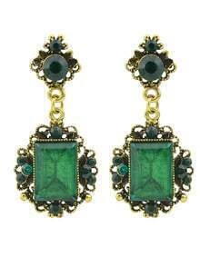 Green Rhinestone Drop Stone Earrings