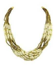 Bohemian Style Multilayers Beige Small Beads Necklace