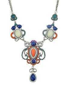Colorful Gemstone Flower Fashion Statement Necklace