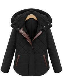 Hooded Zipper Diamondback Black Coat
