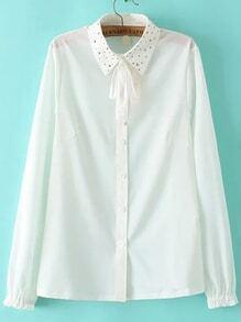 Lapel Studded Cute White Blouse