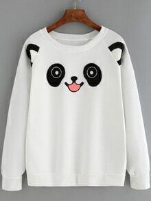 Crew Neck Cat Pattern Sweatshirt