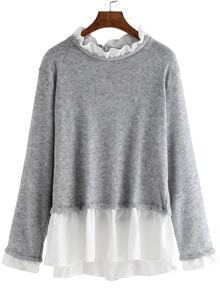 Ruffle Collar Loose Grey Blouse