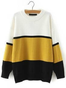 Women Crew Neck Yellow Black Striped Sweater
