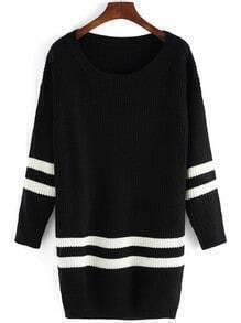 Black Scoop Neck Color Blcok Trims Sweater