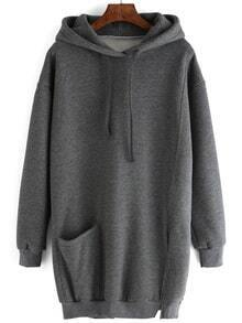 Hooded Drawstring Slit Sweatshirt Dress With Pocket