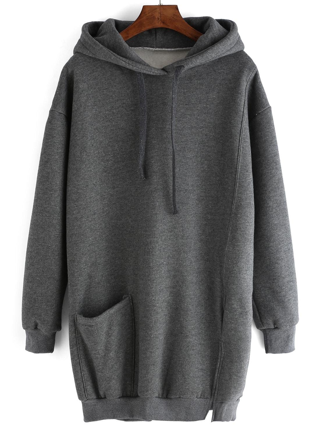 sweat shirt robe avec capuche et cordon fendu avec poches With robe pull capuche