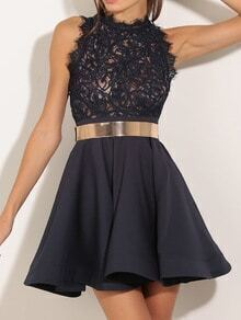 Sleeveless Lace Flare Black Dress