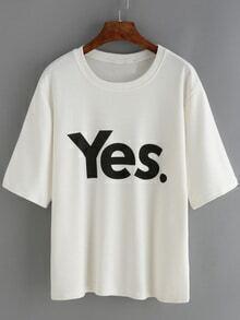Letter Print Loose White T-shirt