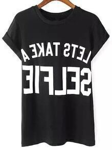 Letter Print Cuffed Black T-shirt