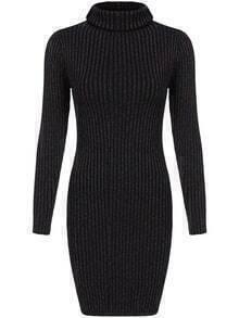 Turtleneck Ribbed Bodycon Sweaterr Dress