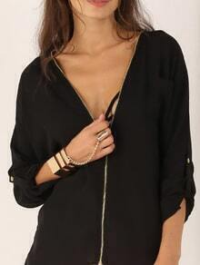 Deep V Neck Zipper Chiffon Blouse