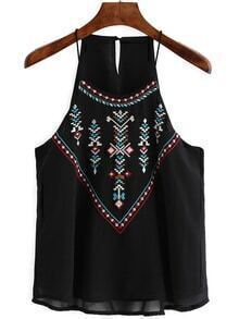 Slip Embroidered Chiffon Black Cami Top
