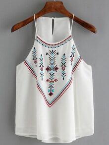 Slip Embroidered Chiffon White Cami Top
