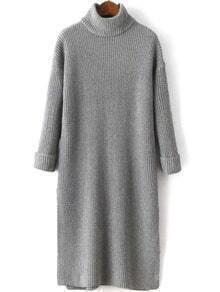 Turtleneck Split Grey Sweater Dress