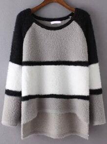 Colour-block Dip Hem Sweater