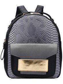 Grey Snakeskin Printed Backpacks