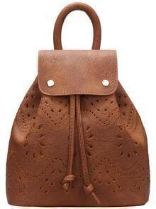 Brown Drawstring Magnetic Pierced Backpacks