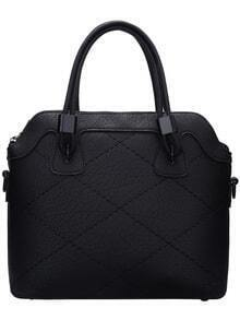Black Quilted Marbling Print Tote Bag