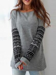 Long Sleeve Geometric Print Sweatshirt