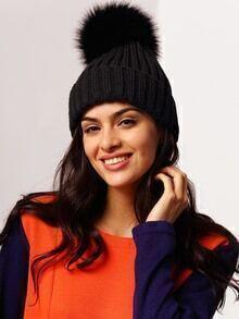 Pom Pom Black Beanie Hat