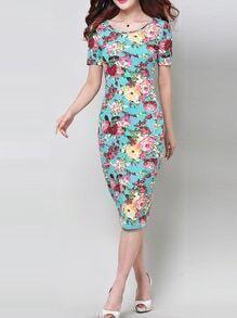 Short Sleeve Florals Sheath Dress