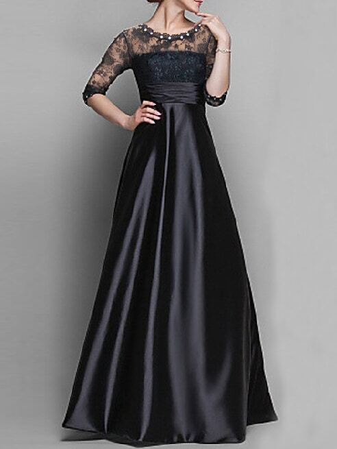 lace insert maxi evening dress with beaded