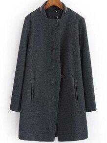 Women Single Button Loose Boyfrined Grey Coat