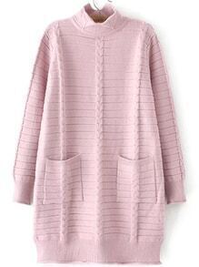 Turtleneck Cable Knit Pink Sweater Dress With Pockets