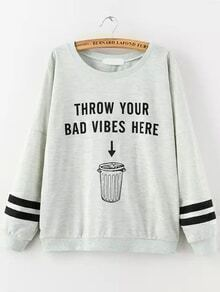 Letter Print Striped Loose Grey Sweatshirt