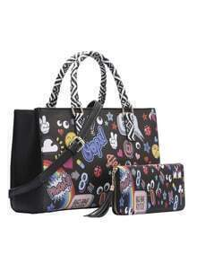 Black Print Two Pieces Shoulder Bag