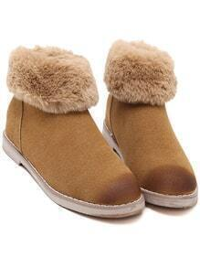 Chocolate Back Zip Fur Snow Ankle Boots