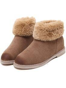 Beige Round Toe Fur Ankle Snow Boots