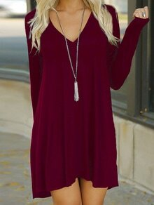 V Neck Shift Tshirt Dress