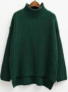 Turtleneck Dip Hem Split Side Army Green Sweater