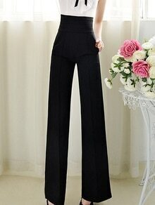 High Waist Wide Leg Black Pant