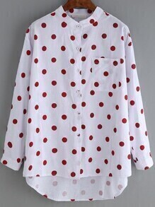 High Low Polka Dot Red Blouse With Pocket