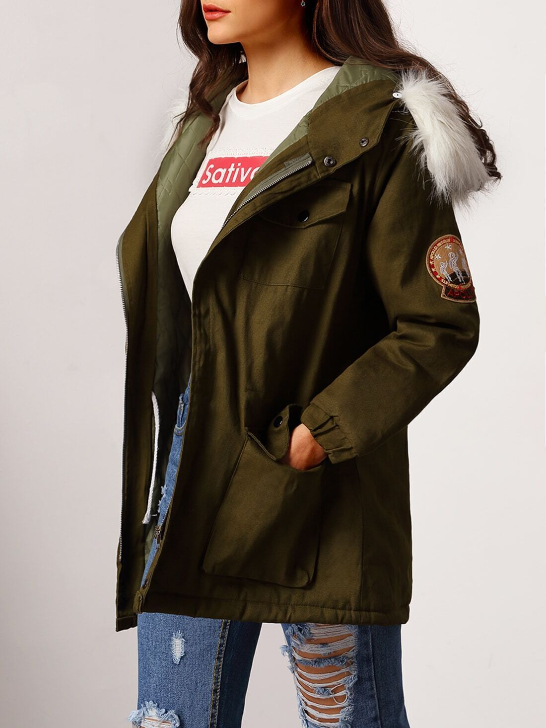 Hooded Faux Fur Patch Parka Coat With Pockets